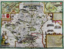 JOHN SPEEDE (BRITISH, 1552-1629) MAP OF HARTFORDSHIRE Hand-colored engraving: 15 3/4 x 20 1/2 in.