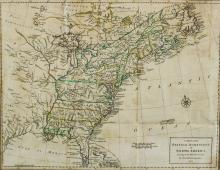 PETER BELL (BRITISH, 18TH CENTURY) MAP OF THE BRITISH DOMINIONS IN NORTH AMERICA, 1772 Hand-colored engraving: 12 x 15 in. (sight)