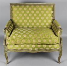 LOUIS XV STYLE FRENCH MARQUIS PAINT DECORATED ARM CHAIR