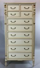 JULIA GRAY DIRECTOIRE STYLE PAINTED TALL DRESSER