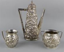 AMERICAN REPOUSSE STERLING ASSEMBLED THREE-PIECE DEMITASSE SET