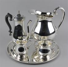 LUNT STERLING 'PAUL REVERE' THREE-PIECE DEMITASSE SET WITH S. KIRK & SON TRAY
