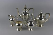 FISHER STERLING FIVE-PIECE COFFEE AND TEA SERVICE