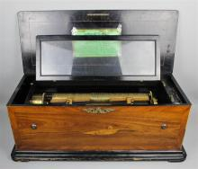 FRENCH PARCEL EBONIZED AND INLAID TULIPWOOD AND KINGWOOD CYLINDER MUSIC BOX, JEROME THIBOUVILLE-LAMY, CIRCA 1900