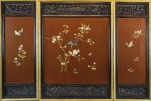 THREE JAPANESE LACQUER AND BONE INLAID PANELS, MEIJI PERIOD