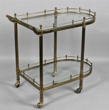 VINTAGE BRASS AND GLASS TWO SHELF BAR CART