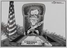 DICK WRIGHT (AMERICAN, 1934-) LITHUANIA POLICY from PROVIDENCE JOURNAL-BULLETIN Pen and ink on paper: 9 x 12 1/2 in. (sight)