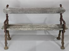 RUSTIC FAUX BOIS CAST IRON AND WOOD GARDEN BENCH