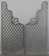 VINTAGE DECORATIVE CAST IRON GARDEN PANELS OR GATE IN TWO PARTS, STAMPED ADAMS