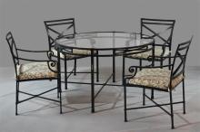 SET OF BROWN JORDAN VENETIAN DINING TABLE AND FOUR CHAIRS