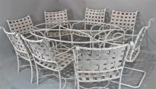 SET OF BROWN JORDAN FLORENTINE OVAL WHITE DINING TABLE AND EIGHT CHAIRS