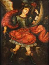SOUTH AMERICAN SCHOOL (20TH CENTURY) SAINT MICHAEL AND THE DRAGON Oil on canvas: 31 1/4 x 24 in.