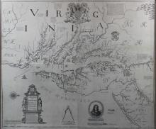 AFTER AUGUSTUS HERMANN (20TH CENTURY) MAP OF VIRGINIA AND MARYLAND Lithograph: 31 1/2 x 37 in. (sight)