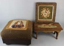 TWO VINTAGE WHIPPET AND KING CHARLES CAVALIER NEEDLEPOINT FOOTSTOOLS TOGETHER WITH A 19TH CENTURY FRAMED FLORAL NEEDLEPOINT