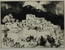 GENE KLOSS (AMERICAN, 1903–1996) CEREMONIAL DAY AT TAOS, 1953 Drypoint: 9 1/4 x 12 in. (sight)