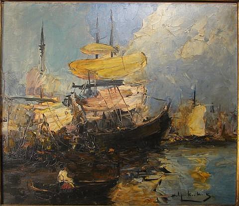 STEPHEN KOEK-KOEK (BRITISH, 1887-1934) HARBOUR SCENE Oil on canvas: 23 1/2 x 27 1/2 in.