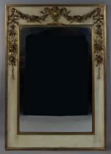 GEORGE III STYLE PAINTED AND PARCEL GILT MIRROR