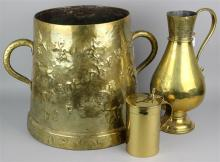 BRASS COLLECTION: ENGLISH STEIN, RUSSIAN ORTHODOX CHURCH WINE JUG, AND A BRASS HANDLED ASH BUCKET