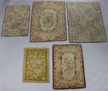 GROUP OF FOUR VINTAGE HOOKED RUGS TOGETHER WITH A NEEDLEPOINT RUG