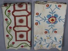 TWO ANTIQUE APPLIQUE QUILTS, ONE WITH FINE STITCHING