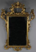 GEORGE III STYLE GILTWOOD MIRROR, BEARING LABEL
