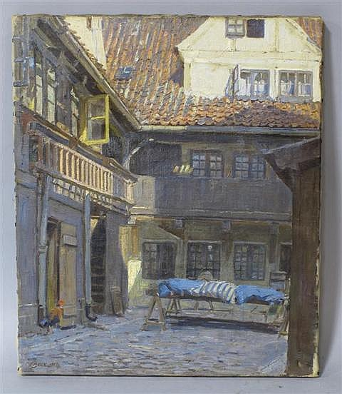 CHRISTIAN FREDRICK BECK (DANISH, 1876-1954) EUROPEAN COURTYARD Oil on canvas: 16 x 13 1/2 in.