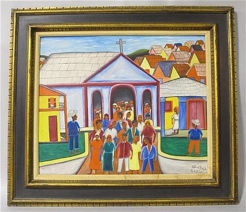 ALBEROI BAZILE (HAITIAN, 20TH CENTURY) CATHEDRAL Oil on board: 20 x 24 in.