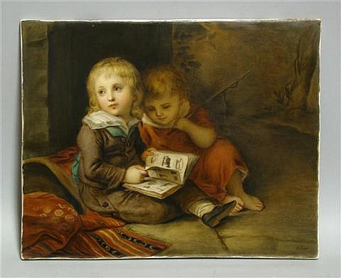 KPM PORCELAIN PLAQUE OF CHILDREN AFTER VOGEL