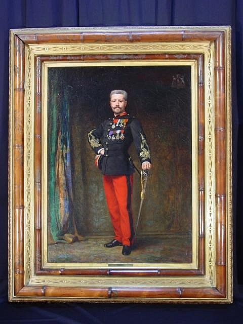 FELIX AUGUSTE CLEMENT FRENCH 1826-1888 MARQUIS MARIE LOUIS RAYMOND DE CAMBEFORT, c. 1881 Oil on canvas: 40 1/8 x 30 inches