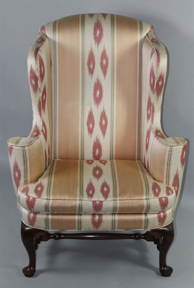 Queen anne style upholstered wing chair for Styles of upholstered chairs