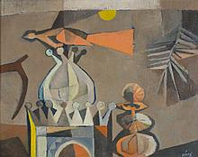 CARLISLE CHANG (AMERICAN, 20TH CENTURY) TWILIGHT OF THE INDIAN BIRD together with WORKS BY GEORGE LEWIS and VIRGINIA TREVIRANUS Oil...