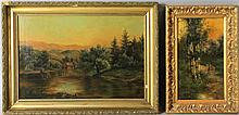 R.I. (19TH CENTURY) CONTINENTAL WOODLAND LANDSCAPE together with a painting by JAGETTES Oil on canvas: 14 1/4 x 21 1/4 in.