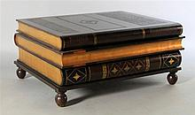 MAITLAND SMITH LEATHER COVERED FAUX OVERSIZED LIBRARY BOOK COFFEE TABLE
