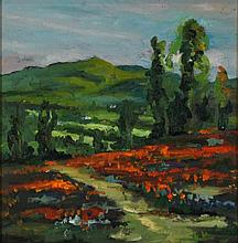DANIEL THIBEAULT (AMERICAN, 21ST C) NEW ENGLAND LANDSCAPE Oil on canvas: 9 3/4 x 9 14 in. (sight)