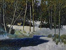 RUSCH (20TH CENTURY) FOREST SCENE WITH DEER Oil on canvas: 11 x 15 1/2 in. (sight)