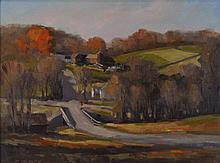 DAVID DODGE (AMERICAN, 21ST CENTURY) HILLSIDE (STOP AT COLL'S) Oil on board: 11 1/2 X 15 1/4 in. (sight)