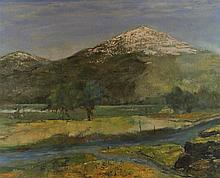 ARTIST UNKNOWN (20TH CENTURY) MOUNTAIN LANDSCAPE Acrylic on canvas: 23 x 29 in. (sight)