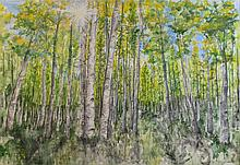 ARTIST UNKNOWN (20TH CENTURY) FOREST SCENE Acrylic on canvas: 42 x 60 in. (sight)