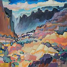 SHIRLEY BAKER LITTLE (AMERICAN, 20TH/21ST CENTURY) ABSTRACT LANDSCAPE Oil on canvas: 36 x 36 in.