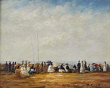 FRANCOIS NICOLI (20TH CENTURY) AT THE SEASIDE Oil on canvas: 7 3/4 x 9 1/4 in. (sight)