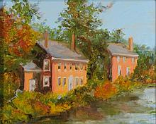LML (20TH CENTURY) THE RIVER HOUSE Oil on canvas: 8 x 9 1/2 in. (sight)