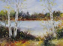 B. GLASS (20TH CENTURY) THE POND Oil on canvas: 8 x 10 3/4 in. (sight)