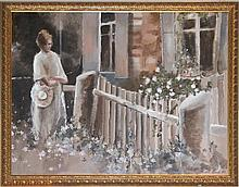 LAMB (20TH CENTURY) IN THE GARDEN Oil on canvas: 36 x 47 in. (sight)