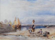ATTRIBUTED TO SAMUEL AUSTIN (BRITISH, 1796-1834) FISHERFOLK ON THE BEACH Watercolor and graphite: 8 1/2 x 12 in. (sight)