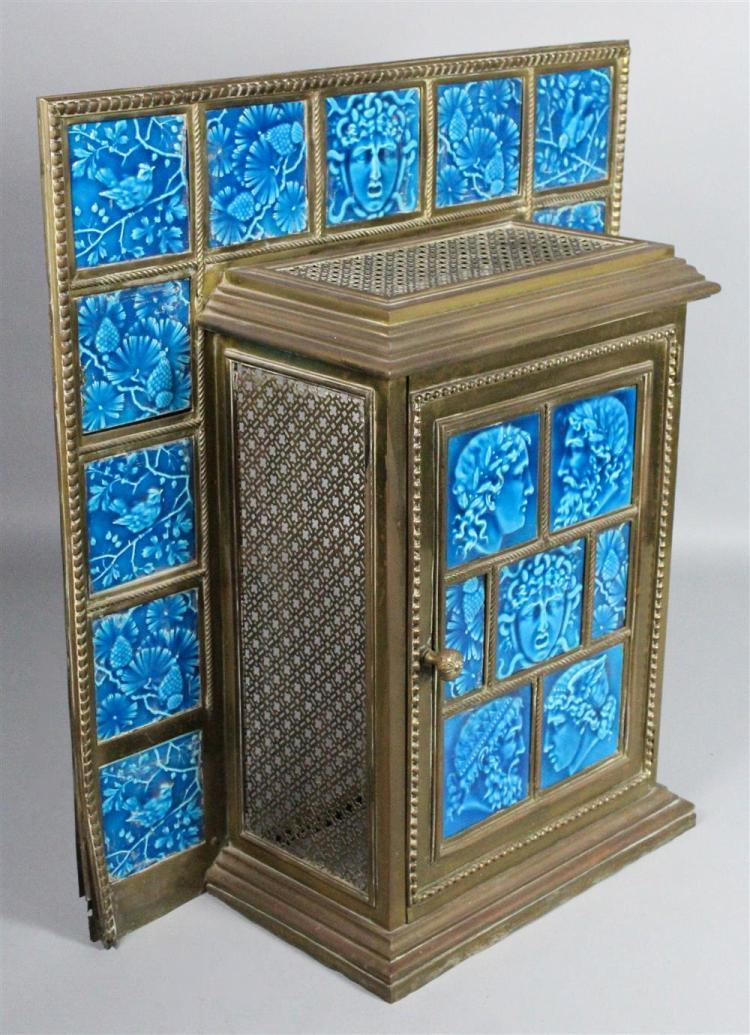 Minton Turquoise Glazed Tile Mounted Brass Coal Fireplace Co