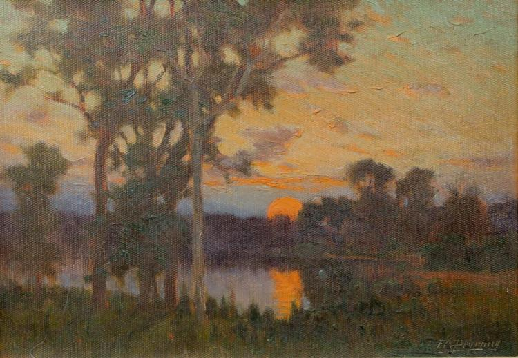 FRANK CHARLES PEYRAUD (AMERICAN, 1858-1948) SUNSET Oil on canvas: 10 1/4 x 14 1/4 in.