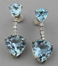 AQUAMARINE AND DIAMOND DROP EARRINGS SET IN 18K YELLOW GOLD, 14K WHITE GOLD AND SILVER