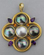 18K YELLOW GOLD PENDANT WITH MABE PEARLS, AMETHYSTS, CITRINES, AND DIAMONDS