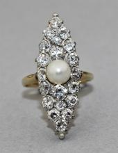EDWARDIAN 14K YELLOW GOLD DIAMOND RING WITH CULTURED PEARL