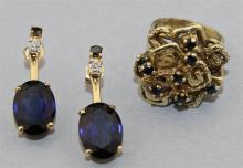 VINTAGE 14K YELLOW GOLD RING WITH SAPPHIRES AND A PAIR OF SYNTHETIC BLUE SAPPHIRE EARRING JACKETS SET IN 14K YELLOW GOLD WITH A PAIR...